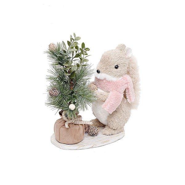 Esquilo Bege e Rosa com Pinheiro 24cm - 01 unidade - Eucalipto - Cromus Natal - Rizzo Embalagens