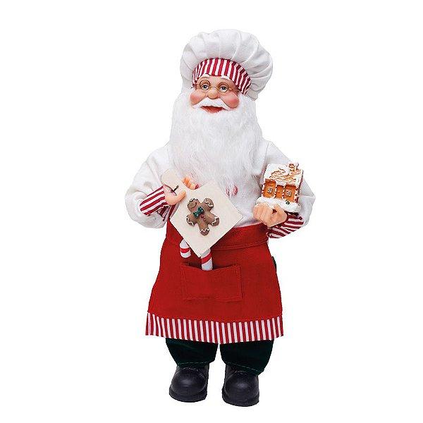 Noel Cozinheiro CandyCane Vermelho e Branco 33cm - 01 unidade - Cromus Natal - Rizzo Embalagens