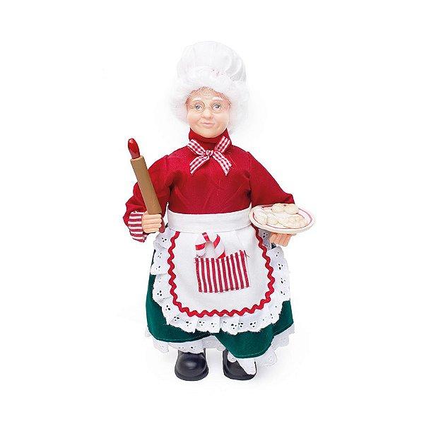 Mamãe Noel Cozinheiro com Rolo de Macarrão 33cm - 01 unidade - Cromus Natal - Rizzo Embalagens