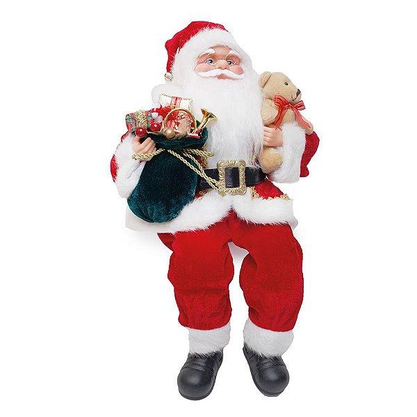 Noel Sentado com Urso Vermelho e Branco 40cm - 01 unidade - Cromus Natal - Rizzo Embalagens