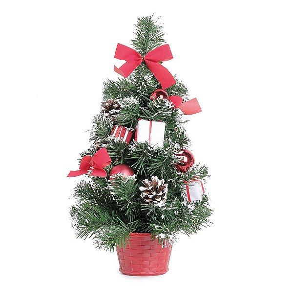 Mini Pinheiro Decorado Vermelho e Verde 40cm - 01 unidade - Eucalipto - Cromus Natal - Rizzo Embalagens
