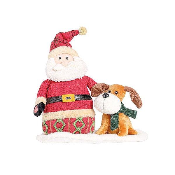 Noel e Cachorro com Movimento Vermelho 25cm - 01 unidade - Cromus Natal - Rizzo Embalagens