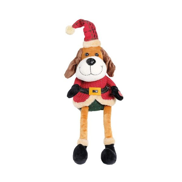 Cachorro Pernas Compridas Roupa Vermelha com Movimento 35cm - 01 unidade - Cromus Natal - Rizzo Embalagens