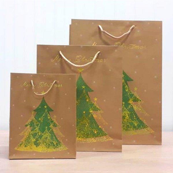 Sacola de Papel Kraft - Merry Christmas - Pinheiro Verde com Detalhes em Dourado