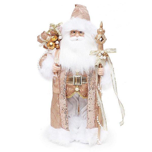 Noel em Pé com Cetro Rose e Branco 42cm  - 01 unidade - Cromus Natal - Rizzo Embalagens