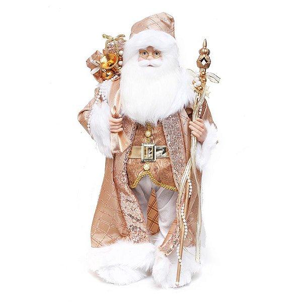 Noel em Pé com Cetro Rose e Branco 62cm  - 01 unidade - Cromus Natal - Rizzo Embalagens