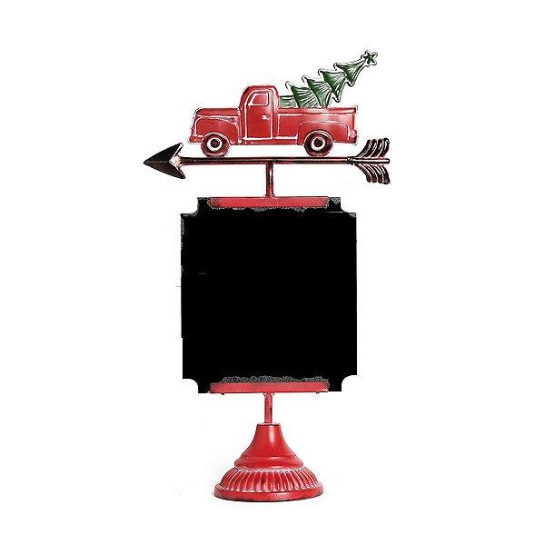Placa Lousa Caminhão com Pinheiro Preto e Vermelho 45cm - 01 unidade - Cromus Natal - Rizzo Embalagens