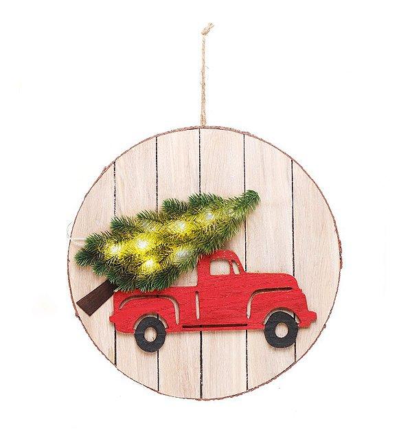 Quadro Decorativo Bege com Led Caminhão Vermelho 40cm - 01 unidade - Cromus Natal - Rizzo Embalagens