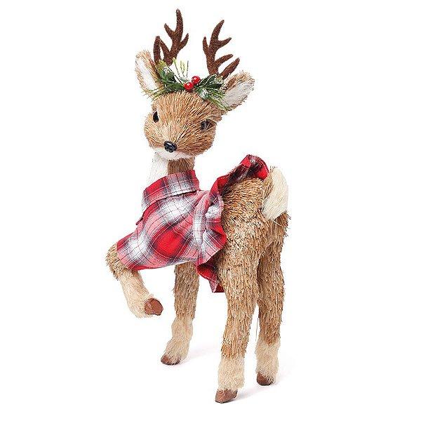 Rena Crespinha Vestido Xadrez Bege e Vermelho 42cm - 01 unidade - Cromus Natal - Rizzo Embalagens