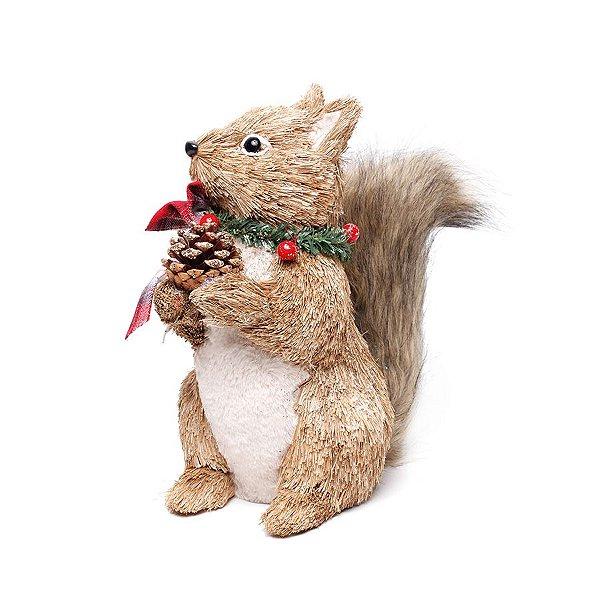 Esquilo Crespinho Em Pé Laço Xadrez Bege e Vermelho 31cm - 01 unidade - Cromus Natal - Rizzo Embalagens