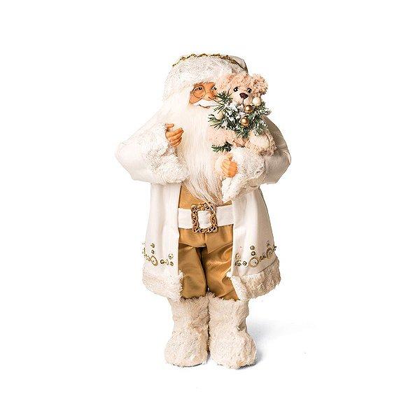 Noel Segurando Urso Branco e Ouro 45cm - 01 unidade - Cromus Natal - Rizzo Embalagens