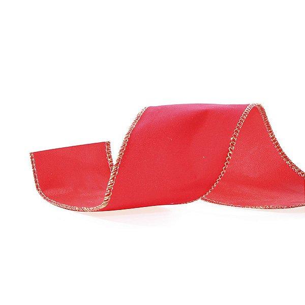 Fita Aramada Veludo Vermelho 10cm x 9,14m - 01 unidade - Cromus Natal - Rizzo Embalagens