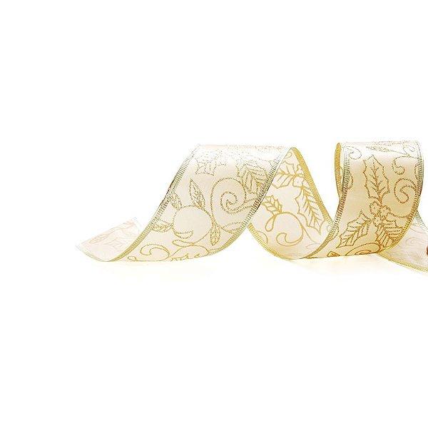 Fita Aramada Azevinho Ouro 6,3cm x 9,14m - 01 unidade - Cromus Natal - Rizzo Embalagens