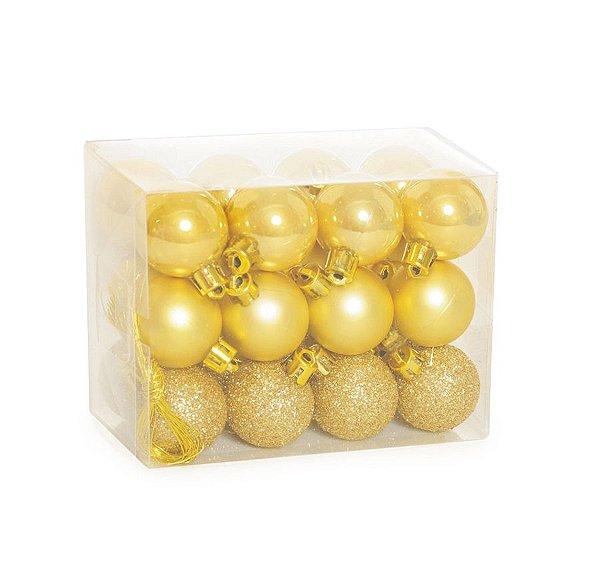 Kit Bola Fosca Texturizadas Brilho Ouro 3cm - 24 unidades - Cromus Natal - Rizzo Embalagens