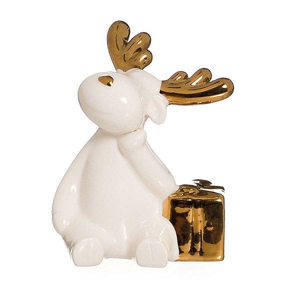 Rena Decorativa com Presente Ouro e Branco 10cm - 01 unidade - Cromus Natal - Rizzo Embalagens