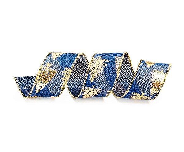Fita Aramada Azul com Árvores Ouro 3,8cm x 9,14m - 01 unidade - Cromus Natal - Rizzo Embalagens
