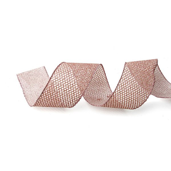 Fita Aramada Tela Rose Gold 3,8cm x 9,14m - 01 unidade - Cromus Natal - Rizzo Embalagens