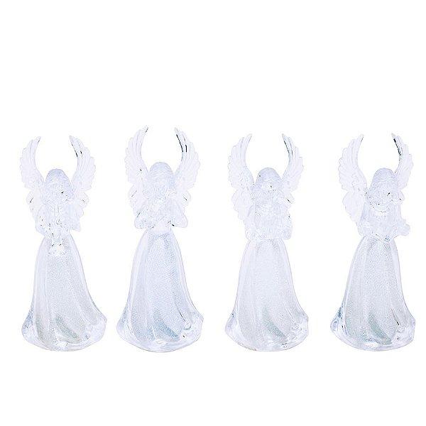 Anjos com Iluminação Branca Sortido Incolor 11cm - 01 unidade - Cromus Natal - Rizzo Embalagens