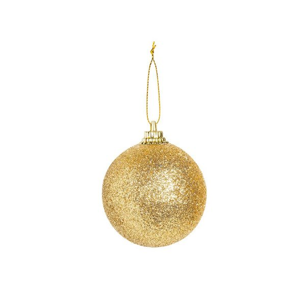 Bola Glitter Ouro 04cm - 12 unidades - Cromus Natal - Rizzo Embalagens