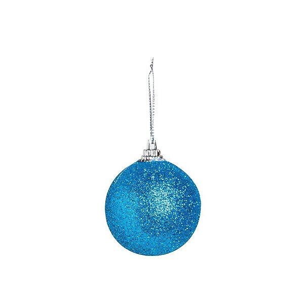 Bola Glitter Azul 05cm - 06 unidades - Cromus Natal - Rizzo Embalagens