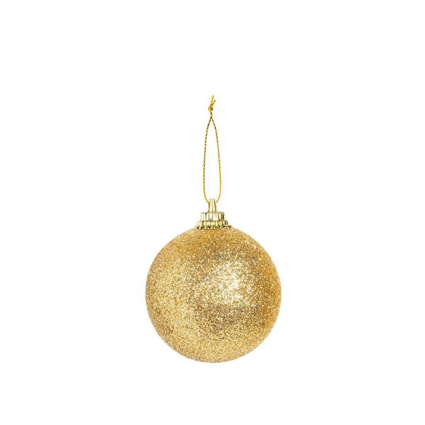Bola Glitter Ouro 05cm - 06 unidades - Cromus Natal - Rizzo Embalagens