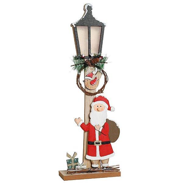 Poste de Luz com Noel Led Cru e Vermelho 45cm - 01 unidade - Cromus Natal - Rizzo Embalagens