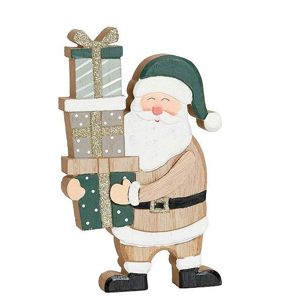 Noel Carregando Presentes Cru e Verde 18cm - 01 unidade - Cromus Natal - Rizzo Embalagens