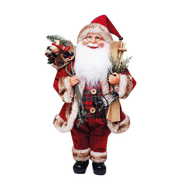 Noel com Presentes Vermelho Verde Xadrez e Marrom 45cm - 01 unidade - Cromus Natal - Rizzo Embalagens