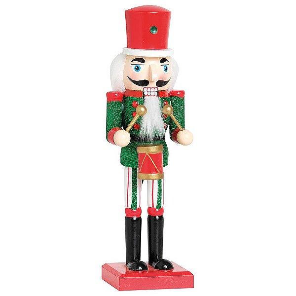 Soldado de Chumbo de Madeira Vermelho e Verde com Tambor 26cm - 01 unidade - Cromus Natal - Rizzo Embalagens
