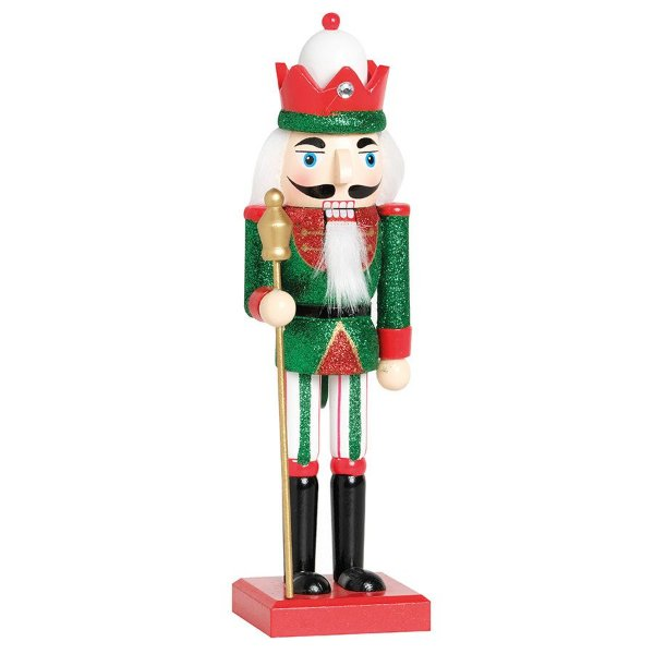 Soldado de Chumbo de Madeira Vermelho e Verde com Lança 26cm - 01 unidade - Cromus Natal - Rizzo Embalagens