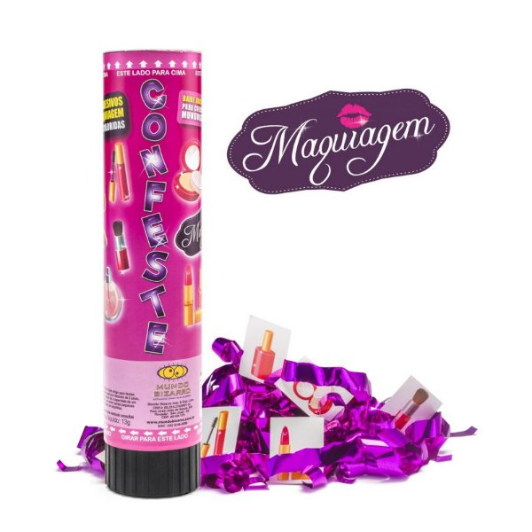 Lança Confete Confeste Kids Adesivos Maquiagens - 21cm - Mundo Bizarro