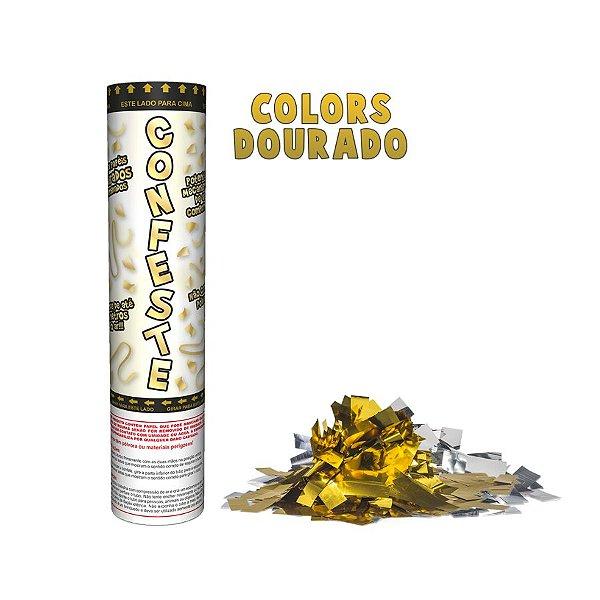 Lança Confete Confeste Laminado Colors Dourado - 20 cm -  Mundo Bizarro