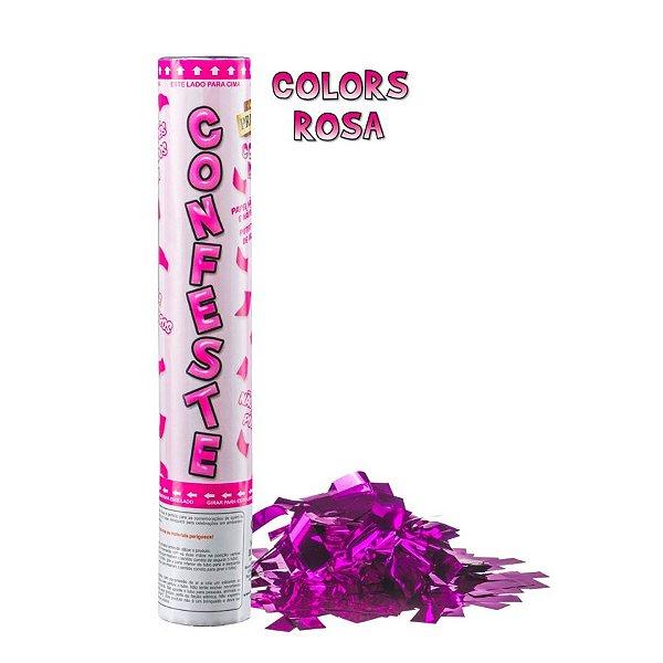 Lança Confete Confeste Laminado Colors Rosa - 30 cm - Mundo Bizarro
