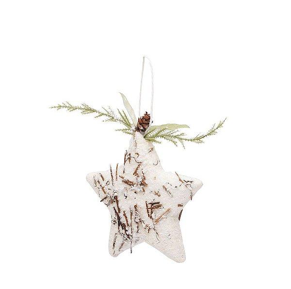 Enfeite para Pendurar Estrela Rústico Branco e Marfim 12cm - 01 unidade - Cromus - Rizzo Embalagens