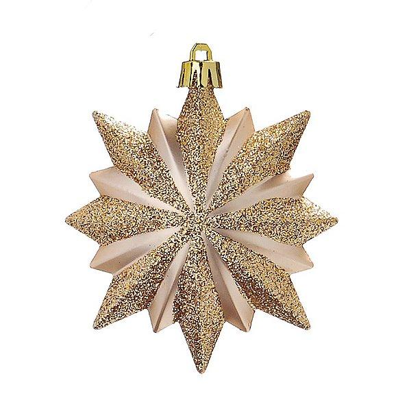 Enfeite para Pendurar Floco de Neve Marfim e Ouro 10cm - 01 unidade - Cromus - Rizzo Embalagens