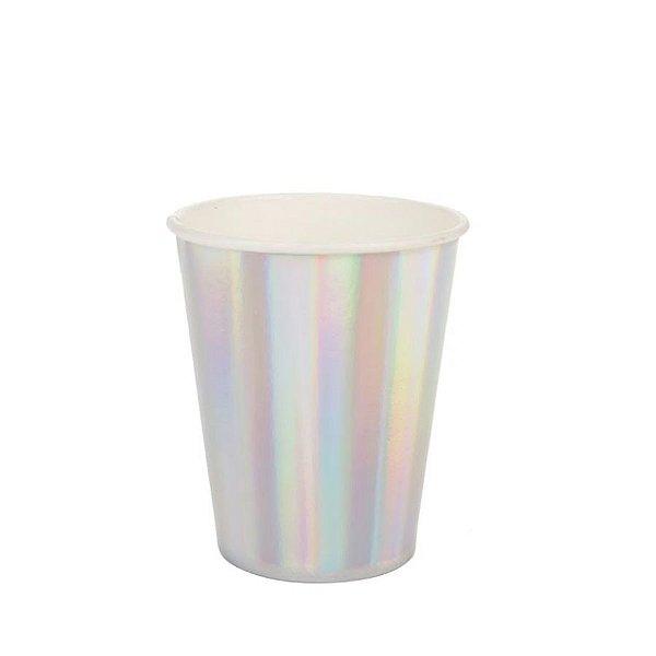 Copo de papel Liso Furtacor Biodegradável - 10 un - 270 ml - Silver Festas