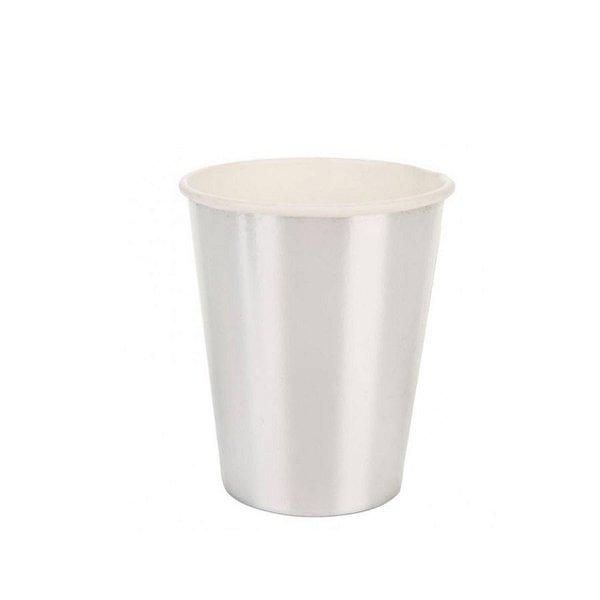 Copo de papel Liso Prata Biodegradável - 10 un - 270 ml - Silver Festas