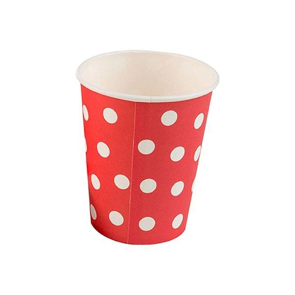 Copo papel Poa Vermelho Biodegradável - 10 un - 270 ml - Silver Festas