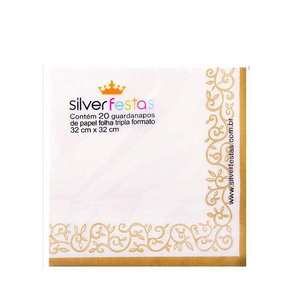 Guardanapo estampado folha dupla - 20 un - Ref.GE33070 - 33x33 cm - Silver Festas