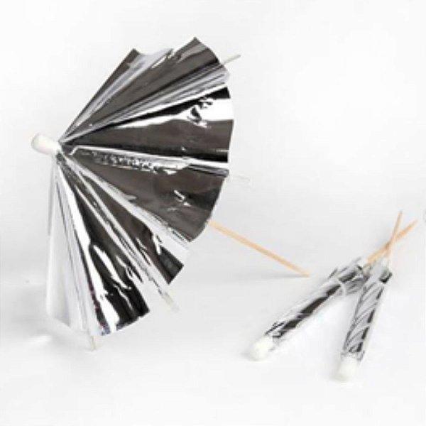 Palito para decoração Guarda Chuva Prateado - 12 un - 10 cm -  Silver Festas
