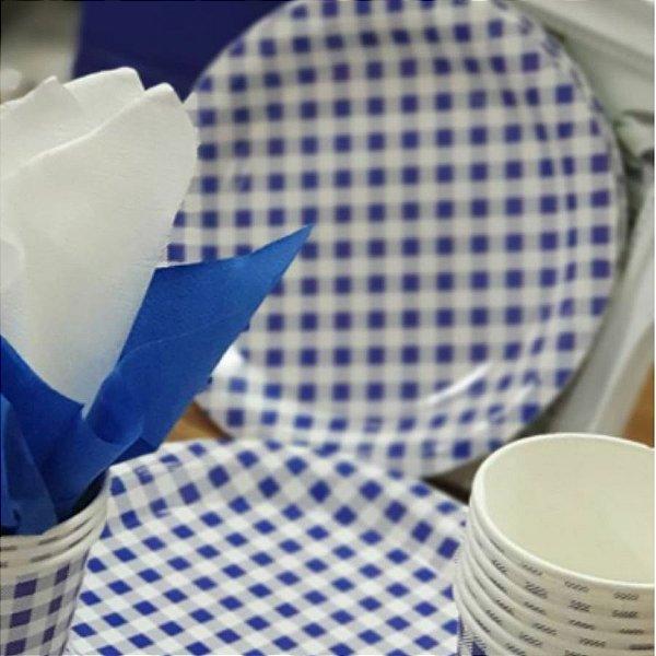 Prato Papel Biodegradável Festa Junina Azul - 10 un -  18 cm - Silver Festas