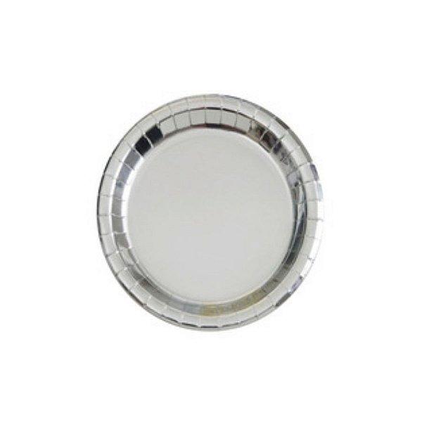 Prato Papel Biodegradável Liso Prata - 10 un -  18 cm - Silver Festas