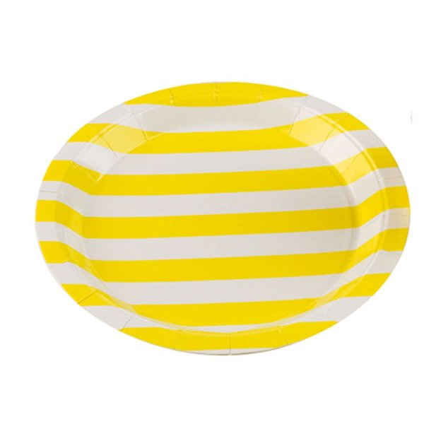 Prato Papel Biodegradável Listrado Amarelo - 10 un -  18 cm -Silver Festas