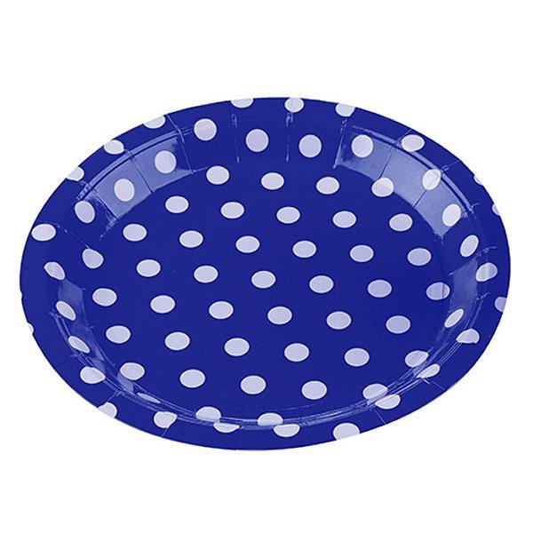 Prato Papel Biodegradável Poa Azul - 10 un -  18 cm - Silver Festas