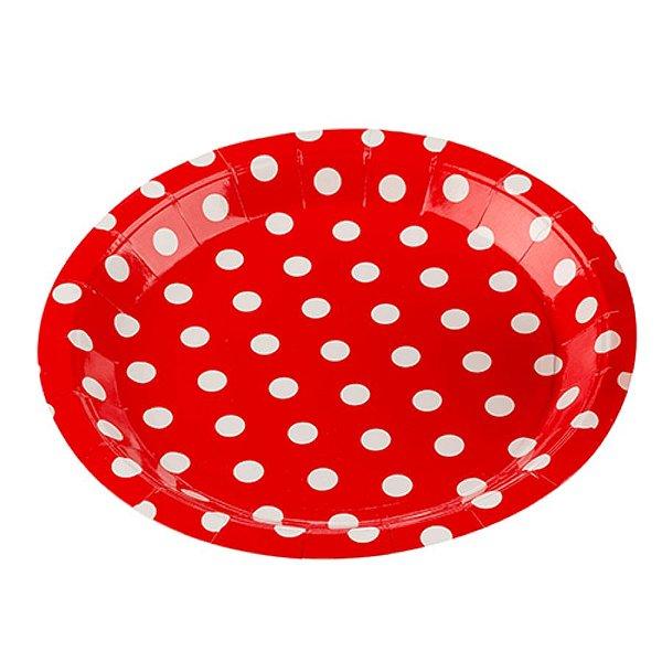 Prato Papel Biodegradável Poa Vermelho - 10 un -  18 cm - Silver Festas