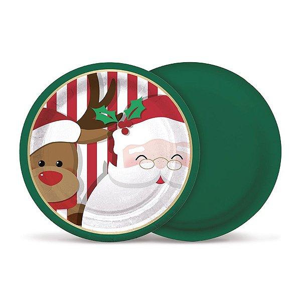 Prato de Papel Redondo Noite Feliz 18cm - 08 unidades - Cromus Natal - Rizzo Embalagens