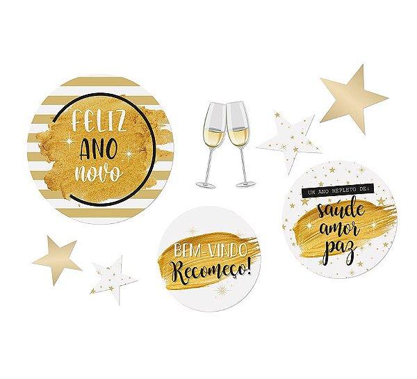 Cartaz Decorativo Feliz Ano Novo - 01 unidade - Cromus Reveillon - Rizzo Embalagens