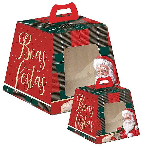 Caixa para Panetone Visor Noel Boas Festas - 10 unidades - Cromus Natal - Rizzo Embalagens