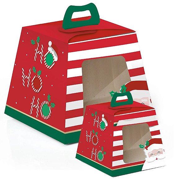 Caixa para Panetone Visor HoHoHo - 10 unidades - Cromus Natal - Rizzo Embalagens