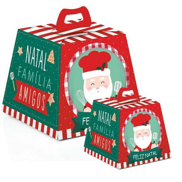 Caixa para Panetone Noel Chef - 10 unidades - Cromus Natal - Rizzo Embalagens